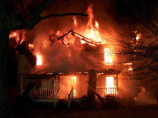 Image of burning home